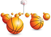 Basketball hoop and scattered balls Royalty Free Stock Photography