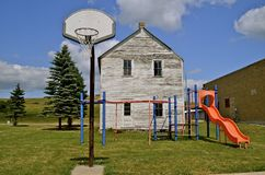 Basketball hoop in school playground Stock Images