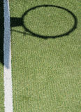 Basketball hoop shadow, on soccer field synthetic Stock Image