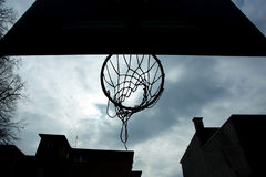 Basketball hoop shot from below Royalty Free Stock Image