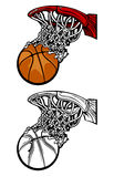 Basketball Hoop Silhouettes. Silhouette and Cartoon Images of a Basketball Shoot through the Rim and Net Royalty Free Stock Image