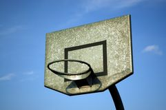 Basketball hoop and sky. Basketball board against blue sky royalty free stock images