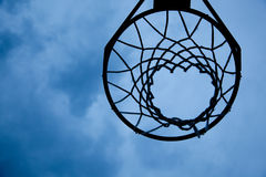 Basketball hoop with sky background Stock Photo