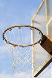 Basketball Hoop on sky background. Basketball Hoop with outdoor, closeup photo Royalty Free Stock Photography