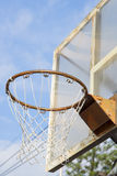 Basketball Hoop on sky background. Basketball Hoop with outdoor, closeup photo Stock Image