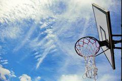 Basketball. Hoop and sky background Stock Photography