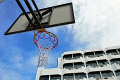 Basketball. Hoop and sky background Royalty Free Stock Image
