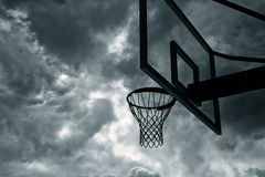 Basketball hoop and sky. 3d modelled and rendered basketball hoop Royalty Free Stock Images