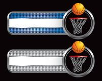 Basketball and hoop on specialized banners. Striped advertisements with basketball and hoop Royalty Free Stock Photo
