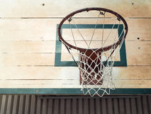 Basketball Hoop in Sport Hall Stock Photography