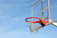 Basketball hoop transparent on blue sky Royalty Free Stock Image