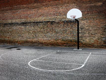 Basketball Hoop Urban Setting Downtown in the City. Basketball hoop in urban setting downtown city hood Stock Photos