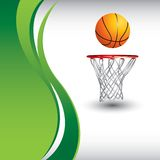 Basketball and hoop on vertical green wave ad stock illustration