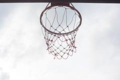 Basketball hoopnet rim ring outdoor sports gyme sports score shot stock image