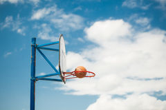 Basketball hoops. Sportsground street basketball game in the ring against a background of blue sky Royalty Free Stock Photos