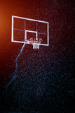 Basketball houp on black arena background Royalty Free Stock Images