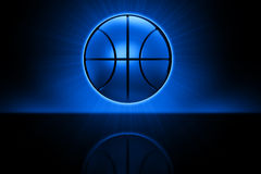 Basketball hovering over reflective ground. Basketball with aura and ground reflection against a black background stock illustration