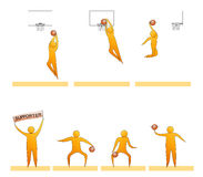 Basketball human sport silhouettes. Silhouettes of humans playing basket Royalty Free Stock Images