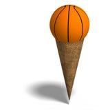 Basketball in an ice cream cone Royalty Free Stock Photos