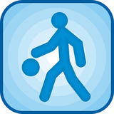 Basketball icon. In blue square Stock Images