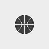 Basketball icon in a flat design in black color. Vector illustration eps10 stock illustration