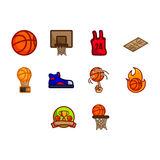 Basketball icon set. A collection of basketball related stuff icon Royalty Free Stock Photos