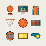 Basketball icon set in flat design style Stock Photos