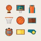 Basketball icon set in flat design style Stock Photos