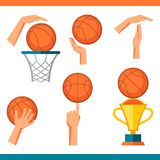 Basketball icon set of gestures and symbols in Stock Photos
