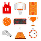 Basketball icon set. Vector illustration Royalty Free Stock Images