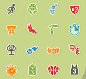 Basketball icon set Royalty Free Stock Images