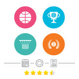 Basketball icons. Ball with basket and cup symbols. Stock Image