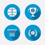 Basketball icons. Ball with basket and cup symbols Stock Image