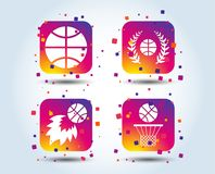 Basketball icons. Ball with basket and fireball. royalty free illustration