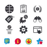 Basketball icons. Ball with basket and fireball. Basketball sport icons. Ball with basket and fireball signs. Laurel wreath symbol. Browser window, Report and Royalty Free Stock Images