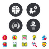 Basketball icons. Ball with basket and fireball. Basketball sport icons. Ball with basket and fireball signs. Laurel wreath symbol. Calendar, Information and Stock Image