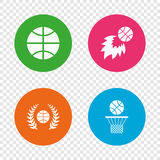 Basketball icons. Ball with basket and fireball. Basketball sport icons. Ball with basket and fireball signs. Laurel wreath symbol. Round buttons on transparent Stock Image