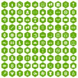 100 basketball icons hexagon green. 100 basketball icons set in green hexagon isolated vector illustration Royalty Free Stock Photography