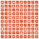 100 basketball icons set grunge orange. 100 basketball icons set in grunge style orange color isolated on white background vector illustration Royalty Free Stock Image