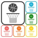 Basketball icons set Royalty Free Stock Photos