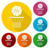 Basketball icons set with long shadow vector illustration