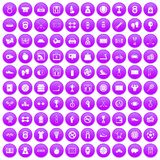 100 basketball icons set purple. 100 basketball icons set in purple circle isolated on white vector illustration stock illustration