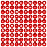 100 basketball icons set red. 100 basketball icons set in red circle isolated on white vector illustration Stock Image