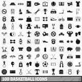 100 basketball icons set, simple style. 100 basketball icons set in simple style for any design vector illustration Stock Photos