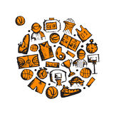 Basketball icons set, sketch for your design Royalty Free Stock Photo
