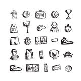 Basketball icons, sketch for your design Royalty Free Stock Image