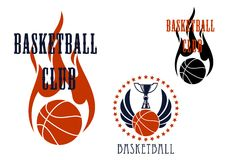 Basketball icons with winged balls and flames. Basketball club icons with trophy cup standing on winged basketball ball encircled by stars, and flaming ball with Stock Photo