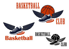 Basketball icons with winged sneakers and balls Stock Image