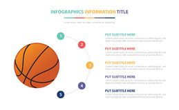 Basketball infographic template concept with five points list and various color with clean modern white background - vector. Illustration stock illustration