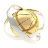 Basketball inside rings abstract composition Royalty Free Stock Photos